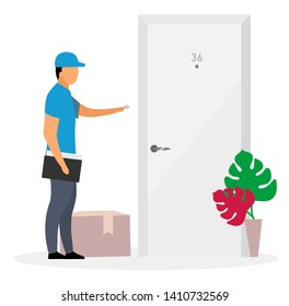 Door-to-door delivery flat vector illustration. Deliveryman, courier ring doorbell isolated cartoon character on white background. Postman delivered parcel, package to door. Shipping service concept