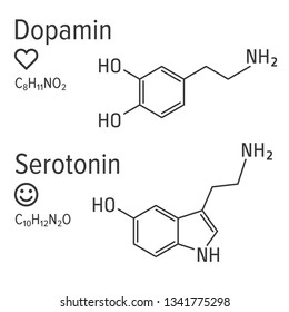 Dopamin and serotonin hormones vector chemical formulas. Love and happiness emotions. Chemical molecular formula.