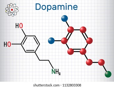 Dopamine ( DA) molecule. Structural chemical formula and molecule model. Sheet of paper in a cage. Vector illustration