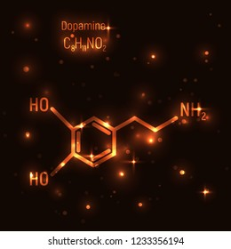 Dopamine gold molecule vector illustration. Luminiscence, shine, golden, dark background. Chemistry, chemical formula, laboratory, research, neurology. Emotion, enjoy, love, happiness, pleasant.