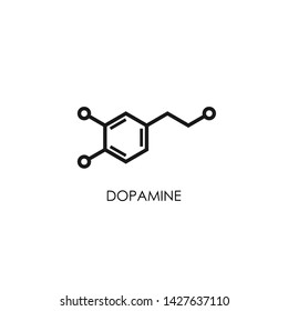 Dopamine molecular structure. neurotransmitter molecule. Skeletal chemical formula. Hormone of happiness and joy. Vector line illustration isolated on white