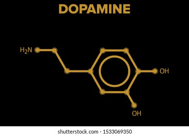 DOPAMINE molecule. chemical structure on black background