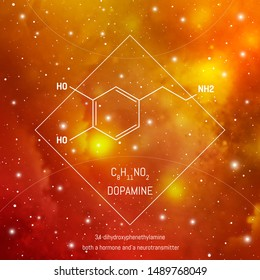 Dopamine neuro transmitter molecule and formula in front of cosmis background. Brain chemistry infographic.