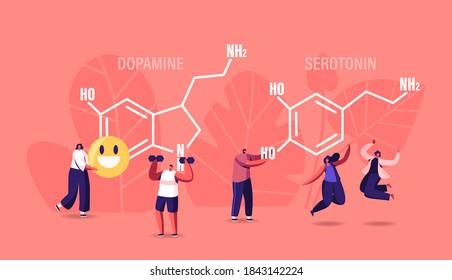 Dopamine, Serotonin Concept. People Enjoying Life near Huge Formula. Hormones Production in Organism. Characters Jumping, Sports Exercising, Smiling, Rejoice. Human Health Cartoon Vector Illustration