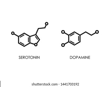 Dopamine and serotonin molecular structure. neurotransmitter molecule. Skeletal chemical formula. Hormone of happiness and joy. Vector line illustration isolated on white