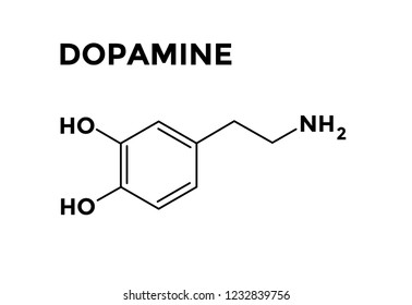 Dopamine structural chemical formula vector. Neuritransmitter of pleasure.