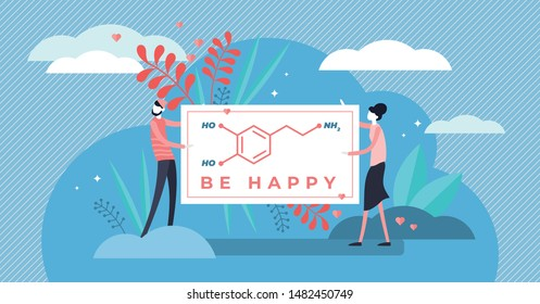 Dopamine vector illustration. Flat tiny chemical happiness persons concept. Isolated organic formula sign for hormone and neurotransmitter. Emotion, love, pleasure feeling and behavior causes effect.