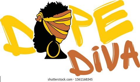 Dope Diva, Afro woman with band, Vector