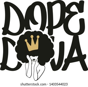 Dope diva, crown, afro woman vector