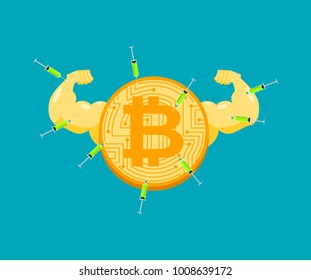 Doping for Bitcoin. Strong crypto currency and steroids. Syringe with anabolic. Bodybuilder coin. Vector illustration
