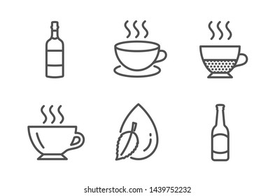 Doppio, Brandy bottle and Cappuccino icons simple set. Coffee, Water drop and Beer signs. Coffee drink, Whiskey. Food and drink set. Line doppio icon. Editable stroke. Vector