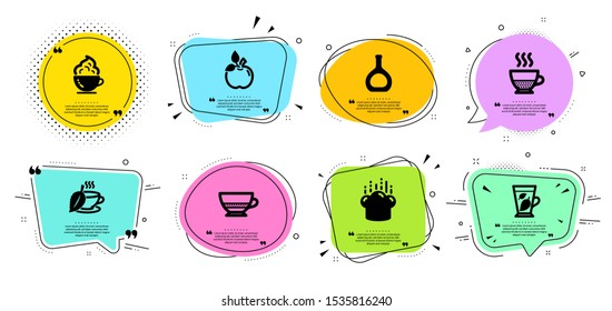 Doppio, Cooking hat and Cognac bottle line icons set. Chat bubbles with quotes. Mint leaves, Eco food and Mint tea signs. Coffee cup, Bombon coffee symbols. Chef, Brandy alcohol. Vector