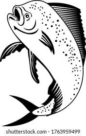 Dorado Dolphinfish or Mahi-mahi Jumping Up Retro Black and White