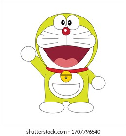 Doraemon Character happy funny expression on white background
