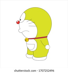 Doraemon Character is seeing something with serious expression in flat style isolated on white background