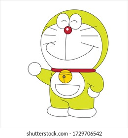 Doraemon Character smile expression on white background