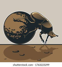 Dor-Beetle, Dung Bug, Scarab Drawing, Vector Bug