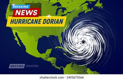 Dorian Hurricane cyclone on USA map, typhoon spiral storm over Florida, spin vortex on black background, breaking news TV flat vector illustration.