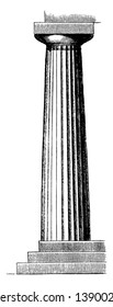 Doric Column from the Temple of Neptune at Paestum, greek, architecture, doric, order, pillar, vintage line drawing or engraving illustration.