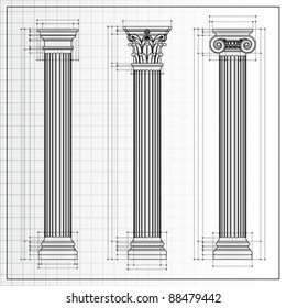 Doric, Ionic and Corinthian Classic Greek column background sketch. Ancient pillar isolated on white, vector