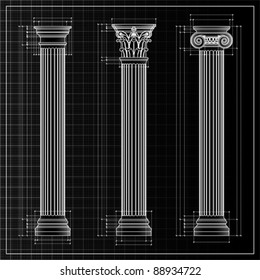 Doric, Ionic and Corinthian Classic Greek column background sketch. Ancient pillar, isolated on white, vector