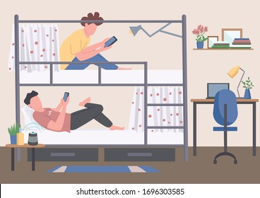 Dormitory roommates flat color vector illustration. College students, friends on bunk bed 2D cartoon characters with workplace on background. University lifestyle, brothers sharing room, co living