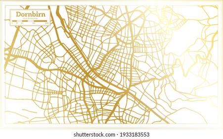 Dornbirn Austria City Map in Retro Style in Golden Color. Outline Map. Vector Illustration.