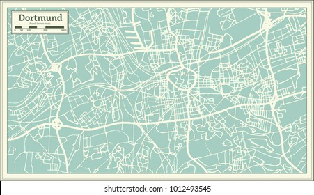 dortmund germany city map in retro style outline map vector illustration