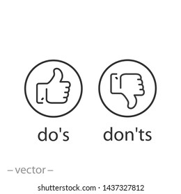 do's and don'ts icon, Like, unlike, yes, no, line symbols on white background - editable stroke vector illustration eps10
