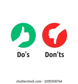 dos and donts like thumbs up or down. flat simple thumb up symbol minimal round logotype element set graphic design isolated on white. concept of poor or fine attitude and great love or not nice idea