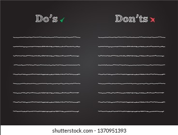 Do's And Don'ts List In Chalkboard