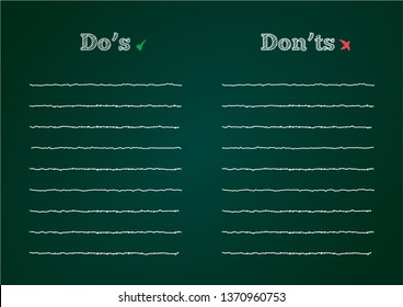 Do's And Don'ts List In The Green Chalkboards