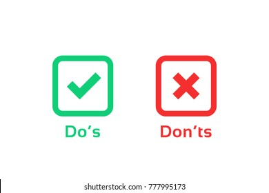 dos and donts marks like learning test. simple square flat trend logotype graphic outline design illustration isolated on white. concept of checklist symbol for recommendations and review or evaluate
