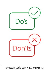 Do's and don'ts red and green badge. Simple flat linear trendy modern vector icons. Isolated on white background. Concept of rules of conduct for people like fail or incorrect decision.