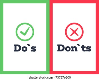 Do's and Don'ts with Tick and Cross. Sign post indicating Do's vs Don'ts. Vector illustration