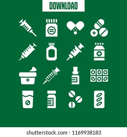 dose icon. 16 dose vector set. syringe, pills, antibiotic and medicine icons for web and design about dose theme