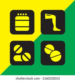 dose icon. 4 dose set with aspirin, drug, supplement and medicine vector icons for web and mobile app
