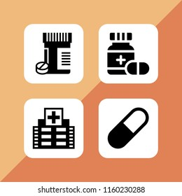 dose icon. 4 dose set with drugs, medicine and pill vector icons for web and mobile app
