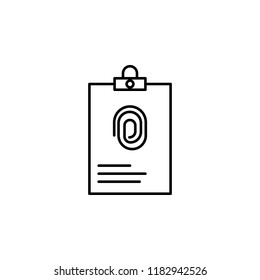 dossier with fingerprint icon. Element of crime and punishment icon for mobile concept and web apps. Thin line dossier with fingerprint icon can be used for web and mobile