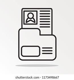 Dossier folder outline icon. linear style sign for mobile concept and web design. The secret files simple line vector icon.