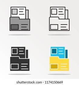 Dossier folder outline icon.Vector illustration.