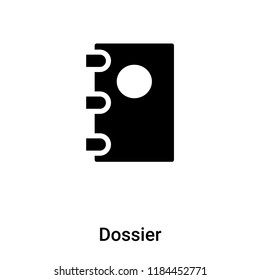 Dossier icon vector isolated on white background, logo concept of Dossier sign on transparent background, filled black symbol