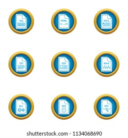 Dossier icons set. Flat set of 9 dossier vector icons for web isolated on white background