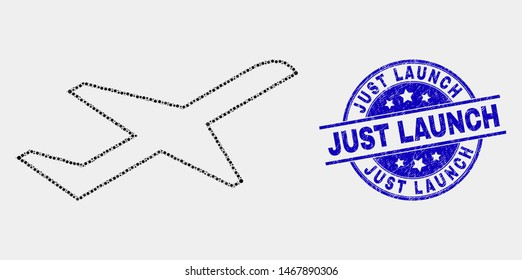Dot airplane takeoff mosaic pictogram and Just Launch seal stamp. Blue vector round textured seal stamp with Just Launch phrase. Vector combination in flat style.