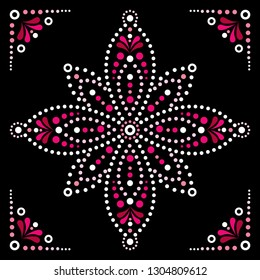 Dot art vector flower, traditional Aboriginal dot painting design, indigenous decoration from Australia. Abstract flower design with dots, circles, ethnic Australian geometric composition in red