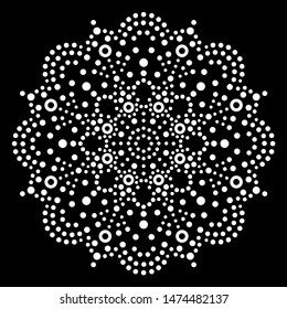 Dot art vector mandala, traditional Aboriginal dot painting design, indigenous decoration from Australia in white on black background. Abstract mandala with dots, circles, ethnic Australian geometric
