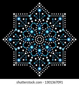 Dot art vector snowflake - Christmas or winter pattern, traditional Aboriginal dot painting design, indigenous decoration from Australia   Xmas snowflake with dots, circles, ethnic Australian geometri