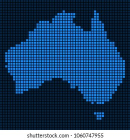 Dot Australia Map. Vector concept of Australia Map combined of square dots. Vector geographic dotted pixelated map in blue colors.