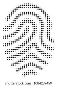 Dot black fingerprint icon. Vector halftone mosaic of fingerprint pictogram constructed of circle points.