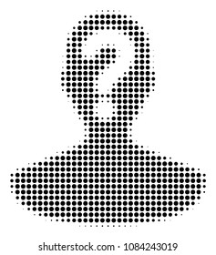 Dot black unknown person icon. Vector halftone mosaic of unknown person pictogram composed of spheric points.